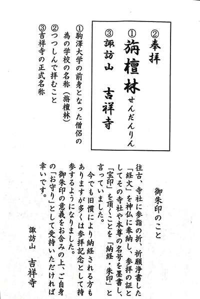 東京都吉祥寺の御朱印